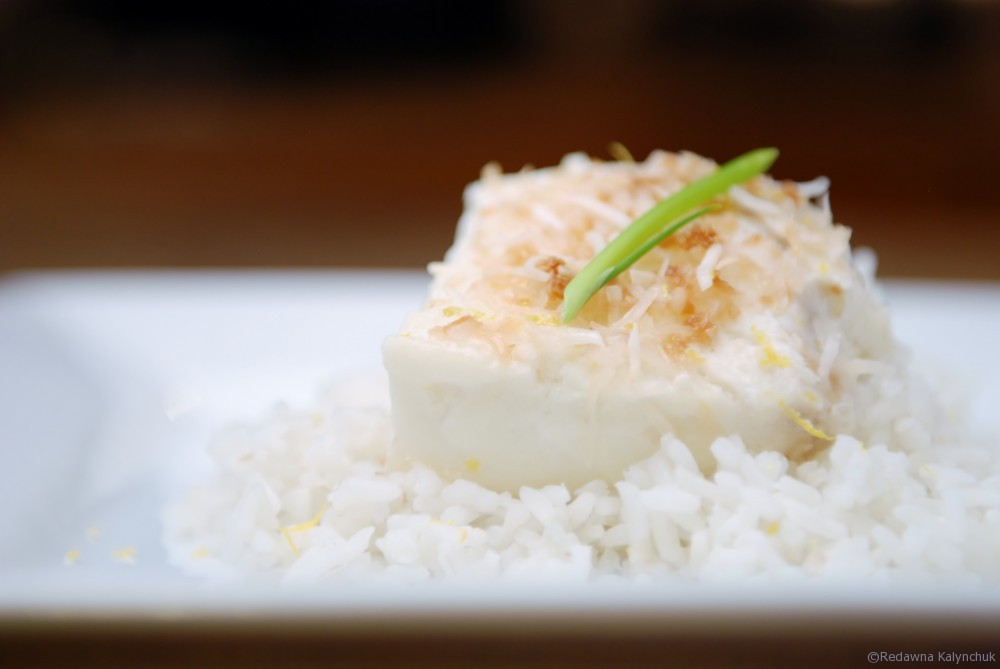 Coconut Milk Poached Halibut on Nutmeg Disrupted