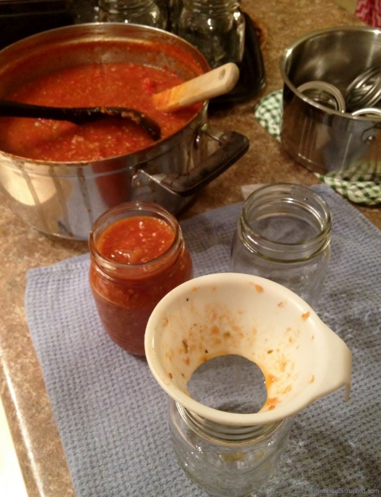 Canning fresh salsa on Nutmeg Disrupted