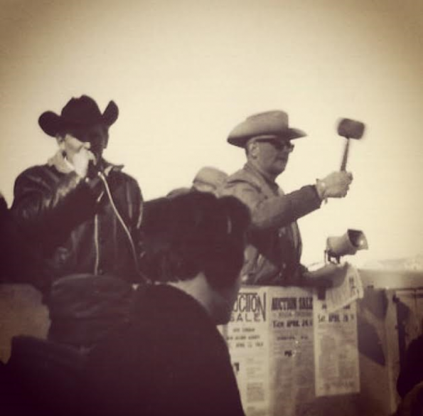 dad and Gido auctioning in 1969