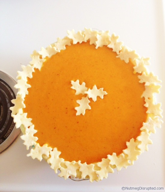 Pumpkin pie ready for the oven