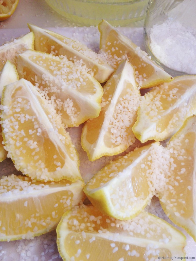 Salting lemons for preserving on Nutmeg Disrupted