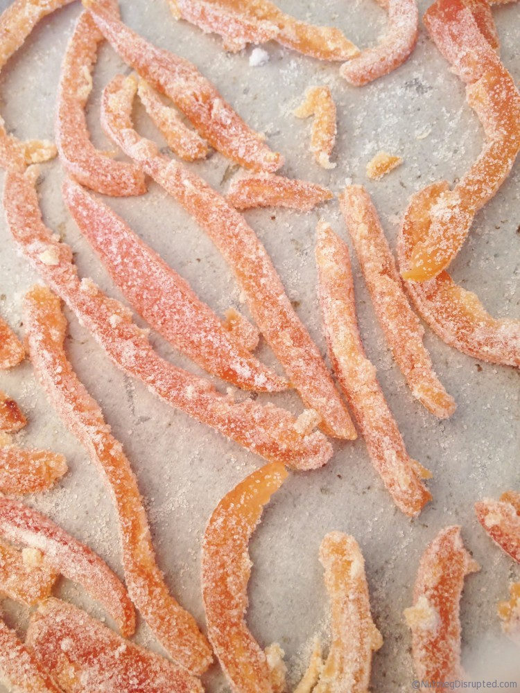Drying sugared grapefruit rinds in the Nutmeg Disrutped kitchen