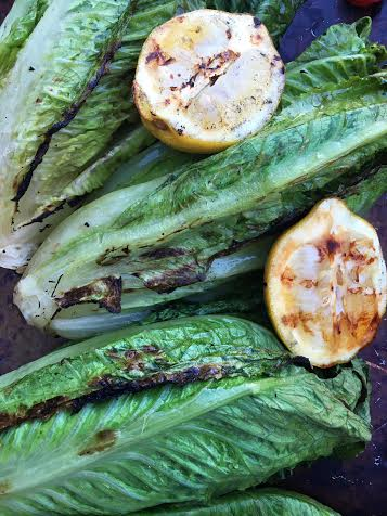 grilling romaine hears for grilled caesar salad on Nutmeg Disrupted