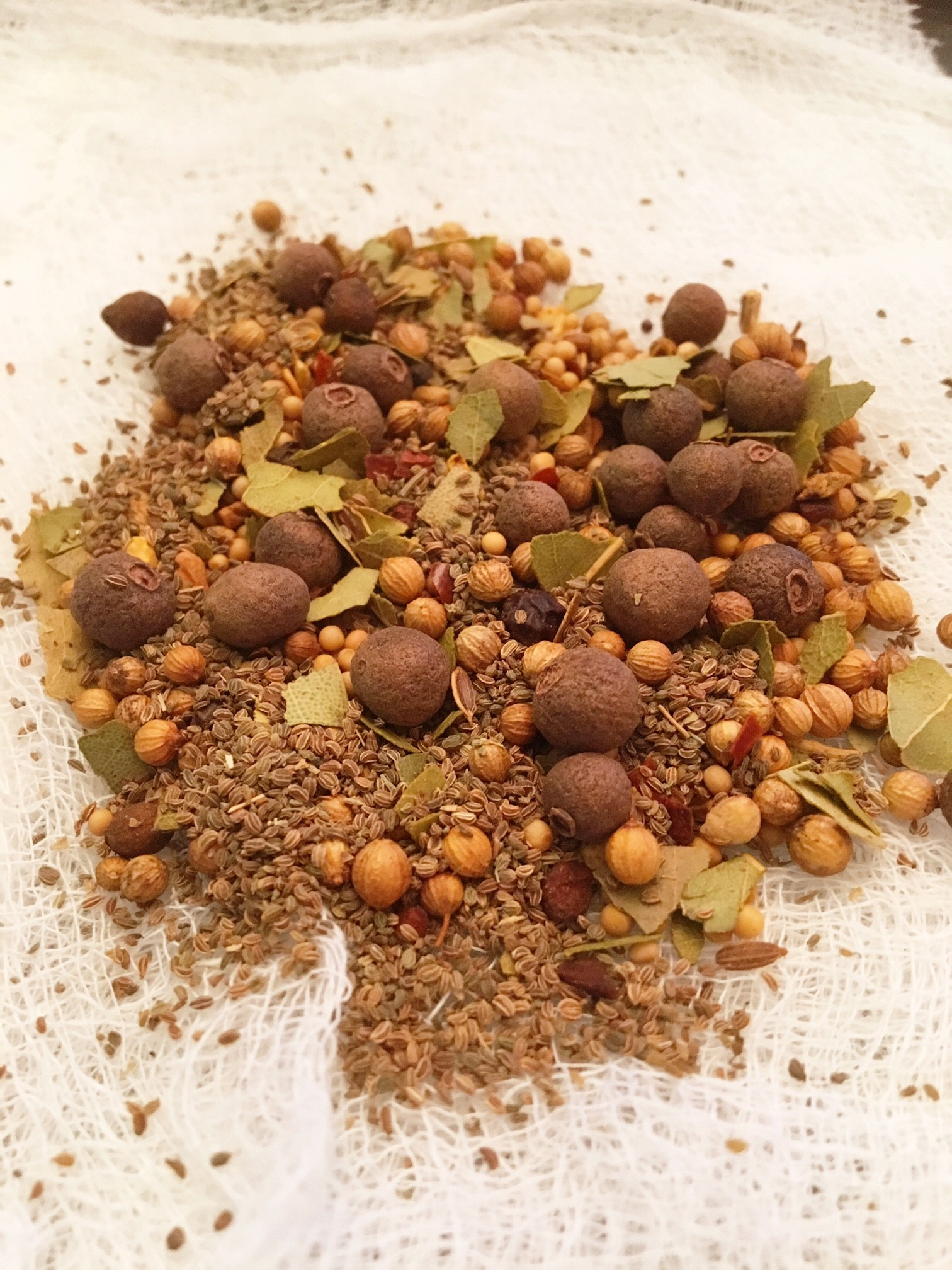 Mixed spices for 6 day fermented gherkins in the Nutmeg Disrupted kitchen.