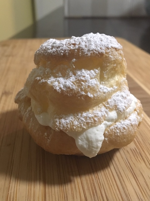A whipped cream filled cream puff from Nutmeg Disrupted